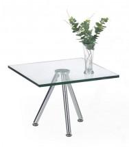 Solo - Konferenčný stolík štvorcový, nižší (transp. sklo, chrom)