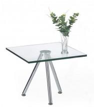 Solo - Konferenčný stolík štvorcový, vyšší (transp. sklo, chrom)