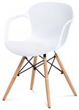 Sono - Jedálenská stolička s podrúčkami (biely plast/natural)