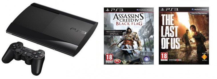 Sony PlayStation 3 - 500GB + Assassins Creed 4 + The Last of Us