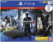 SONY PlayStation 4 1TB  černý + TLOU + U4 + HZD
