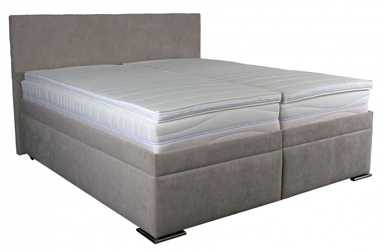 Spálne ZLACNENÉ Čalúnená posteľ Rory 180x200, šedá, vrátane matracov, roštu a úp
