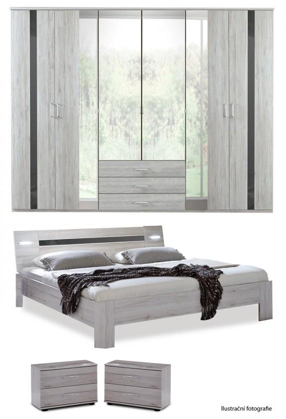 Spálne ZLACNENÉ Nizza-skriňa,posteľ 200x160cm (alpská biela+sivá vysoký lesk)