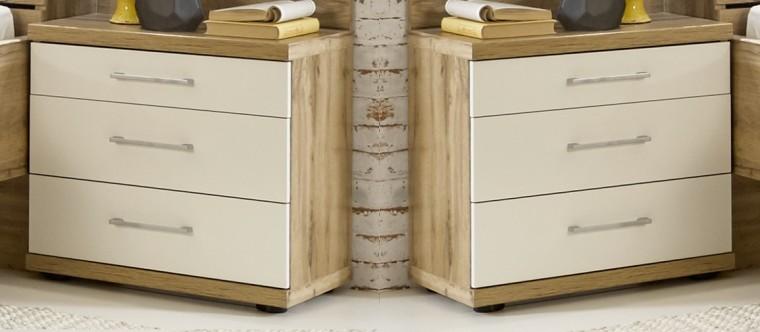 Spálne ZLACNENÉ Nočný stolík Padua - 3x zásuvka, 2 ks (dub balken/alpská biela)