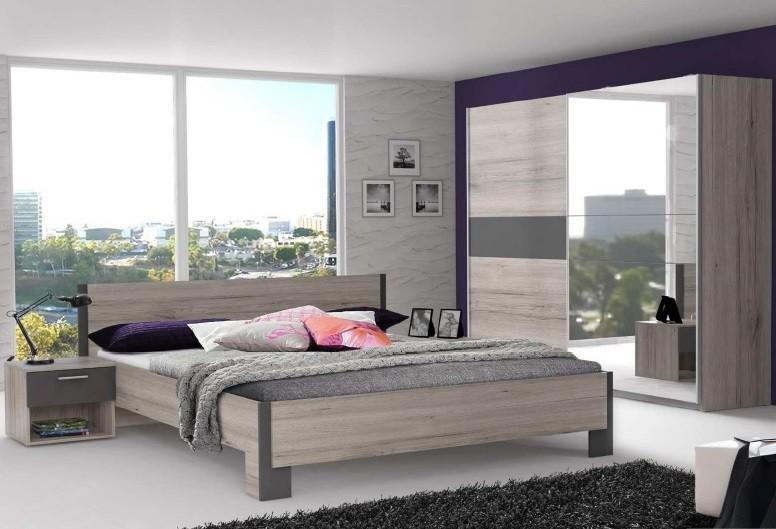 Spálňový program Adria 2 - Spálňa, posteľ 160 (sivá matná/dub pieskový)