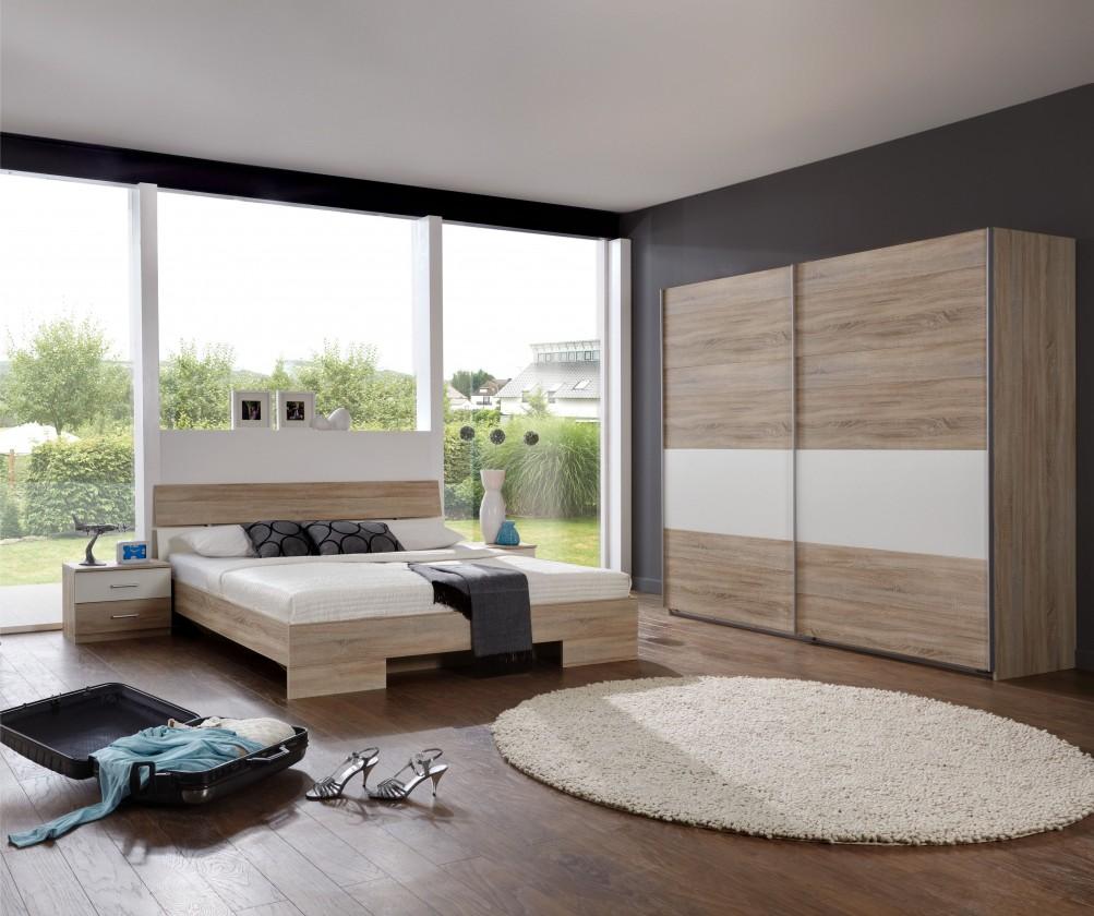 Spálňový program Alina - Komplet 10, posteľ 180 cm (dub, alpská biela)