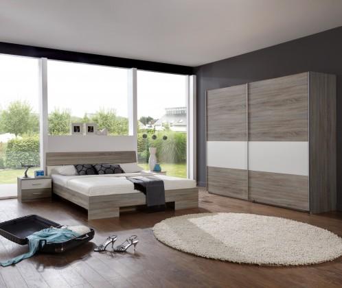 Spálňový program Alina - Komplet 2, posteľ 160 cm (dub montana, alpská biela)