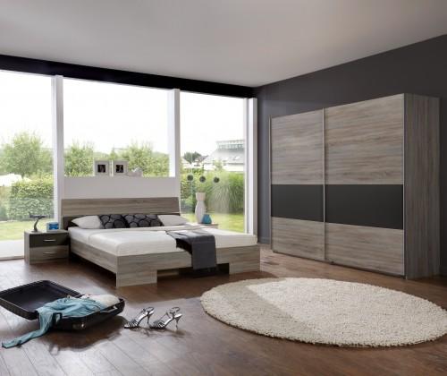 Spálňový program Alina - Komplet 2, posteľ 160 cm (dub montana, lava čierna)
