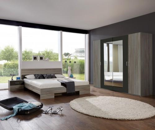 Spálňový program Alina - Komplet 3, posteľ 160 cm (dub montana, lava čierna)