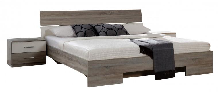 Spálňový program Alina - Komplet 4, posteľ 180 cm (dub montana, alpská biela)