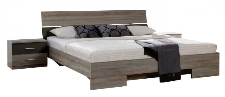 Spálňový program Alina - Komplet 4, posteľ 180 cm (dub montana, lava čierna)