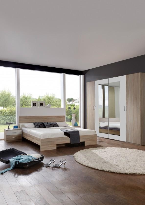 Spálňový program Alina - Komplet 5, posteľ 140 cm (dub, alpská biela)