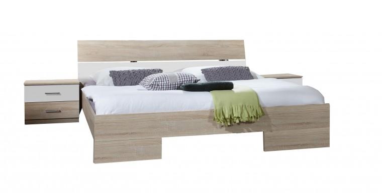 Spálňový program Alina - Komplet 6, posteľ 140 cm (dub, alpská biela)