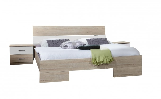 Spálňový program Alina - Komplet 7, posteľ 160 cm (dub, alpská biela)