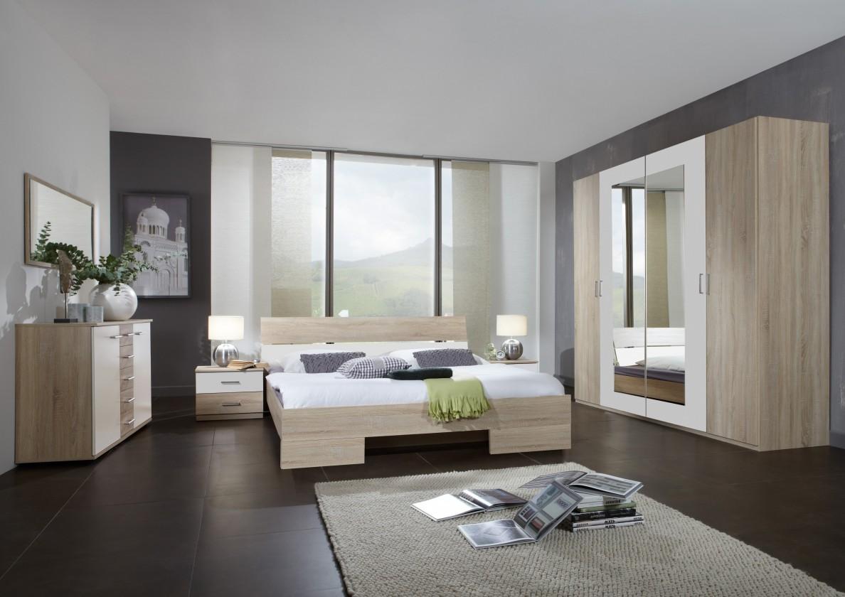 Spálňový program Alina - Komplet 9, posteľ 180 cm (dub, alpská biela)
