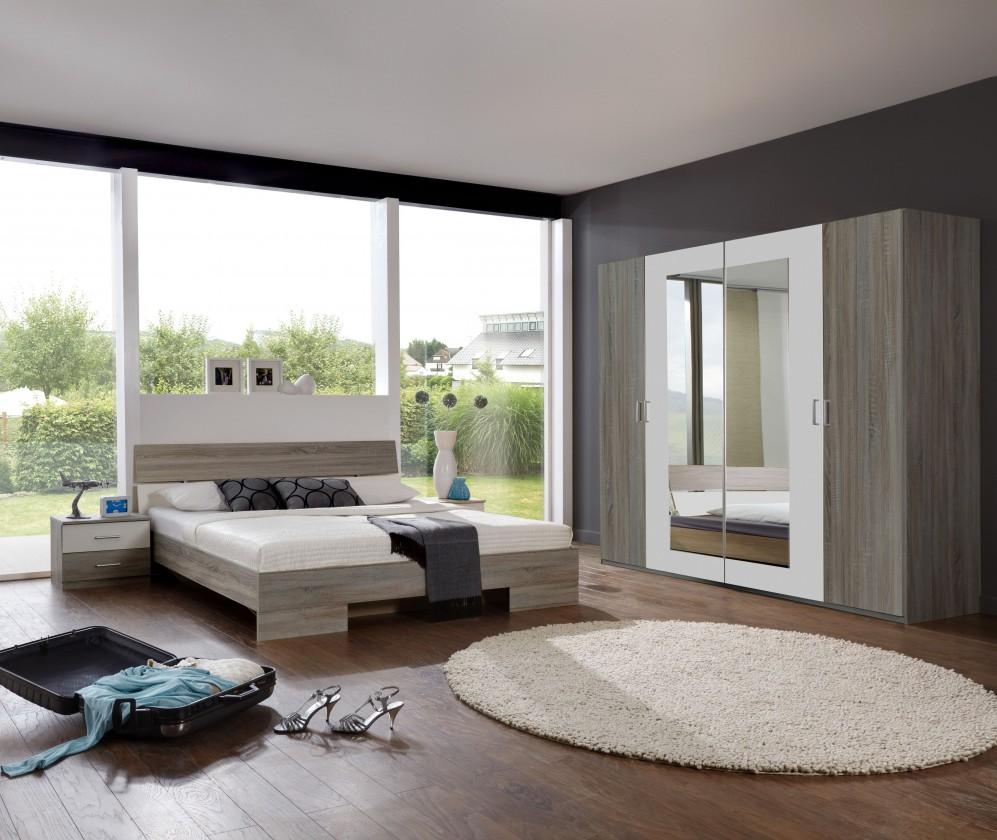 Spálňový program Alina - Komplet 9, posteľ 180 cm (dub montana, alpská biela)