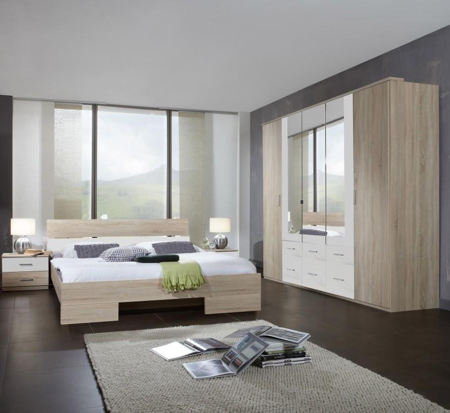Spálňový program Alina - Komplet, posteľ 180 cm (dub, alpská biela)