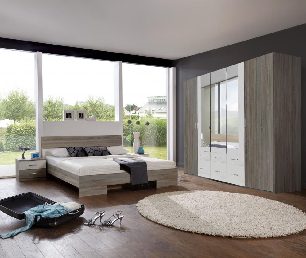 Spálňový program Alina - Komplet, posteľ 180 cm (dub montana, alpská biela)