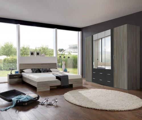 Spálňový program Alina - Komplet, posteľ 180 cm (dub montana, lava čierna)
