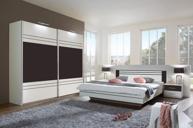 Spálňový program Cascada - komplet, posteľ 180cm (alpská biela, lava)