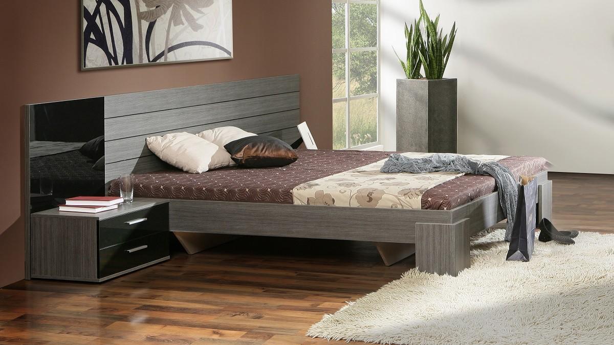 Spálňový program Cellini - komplet, posteľ 160cm (čierny lesk, šedý dub)