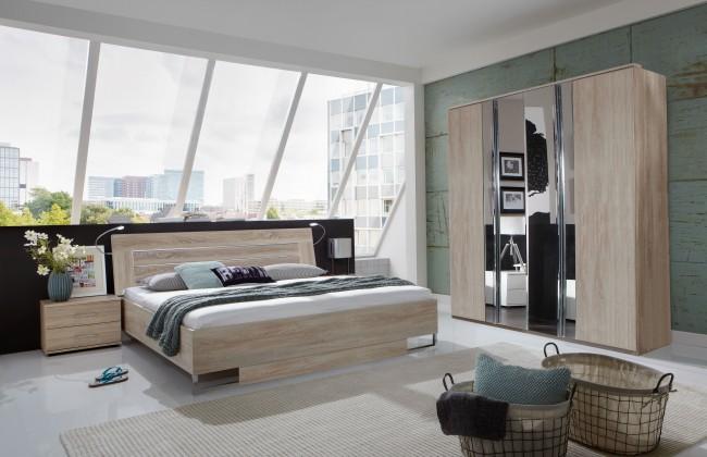 Spálňový program Davos - Komplet 2, posteľ 180 cm (dub)