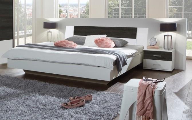 Spálňový program Dora - komplet, posteľ 160cm (alpská biela, wenge)