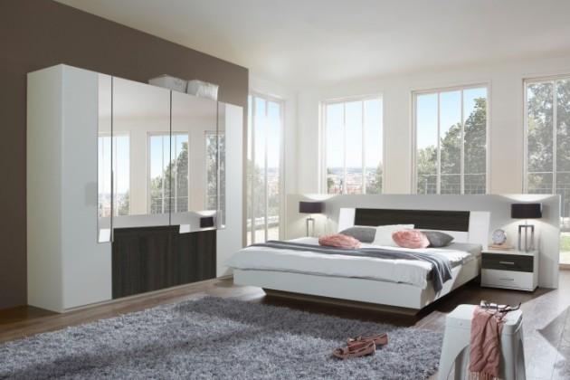 Spálňový program Dora - komplet, posteľ 180cm (alpská biela, zrkadlo, wenge)