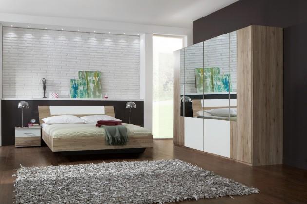 Spálňový program Dora - komplet, posteľ 180cm (dub, zrkadlo, alpská biela)