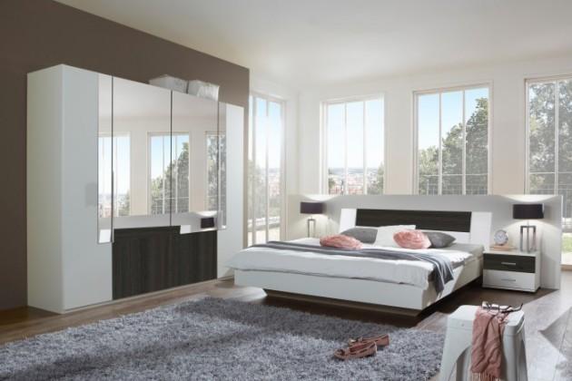 Spálňový program Dora - komplet velký, posteľ 160cm (alpská biela, zrkadlo, wenge)