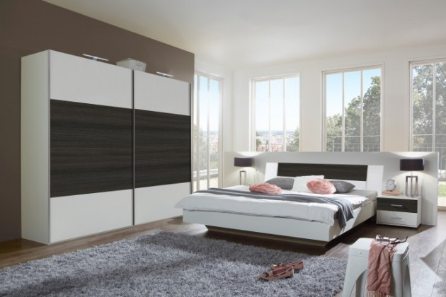 Spálňový program Dora - komplet velký, posteľ 180cm (alpská biela, wenge)