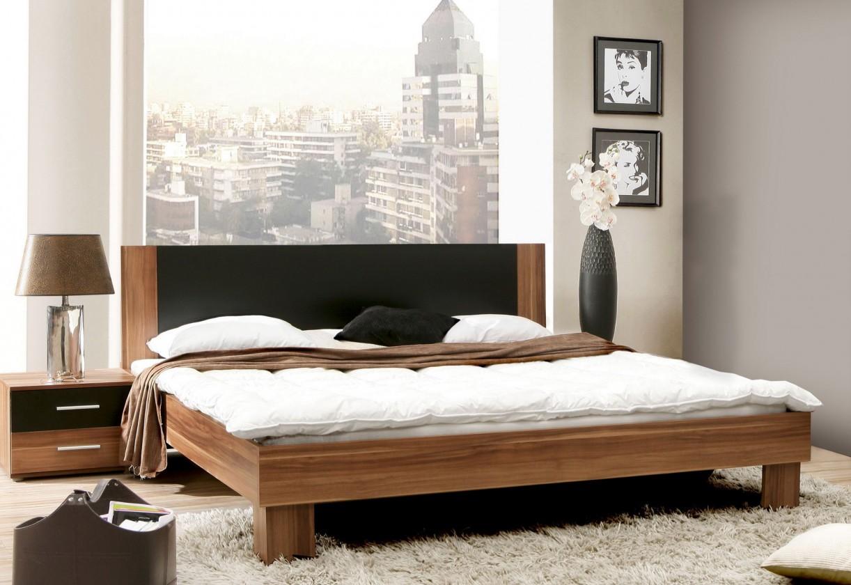 Spálňový program Helen - komplet, posteľ 180cm (matná čierna, italský ořech)