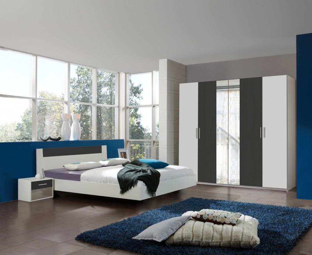 Spálňový program Ilona - Komplet 2, posteľ 160 cm (alpská biela, antracit)
