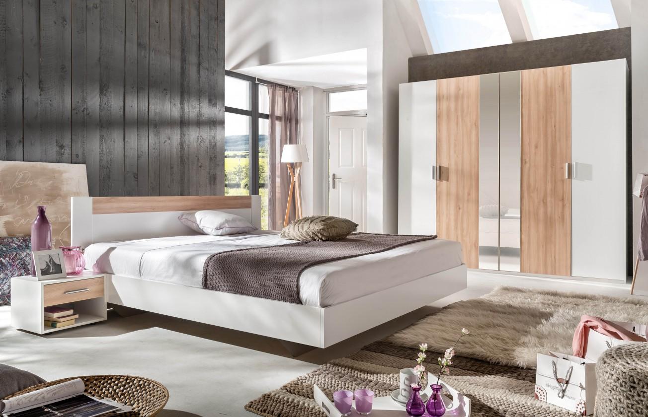 Spálňový program Ilona - Komplet 2, posteľ 160 cm (alpská biela, buk)