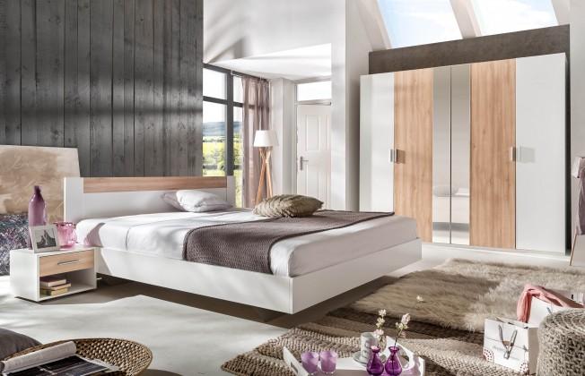 Spálňový program Ilona - Komplet 3, posteľ 140 cm (alpská biela, buk)