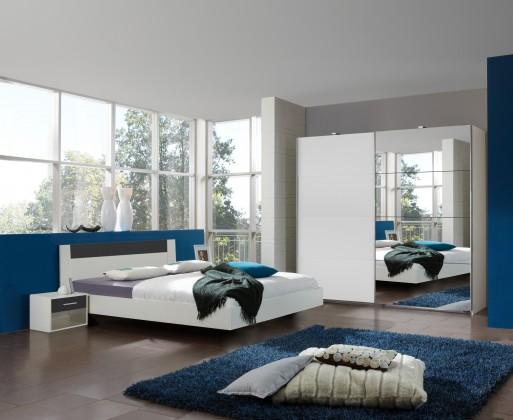 Spálňový program Ilona - Komplet 4, posteľ 140 cm (alpská biela, antracit)