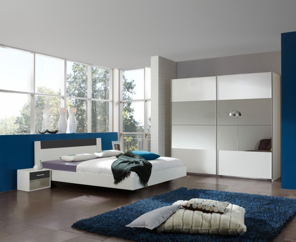 Spálňový program Ilona - Komplet 5, posteľ 140 cm (alpská biela, antracit)