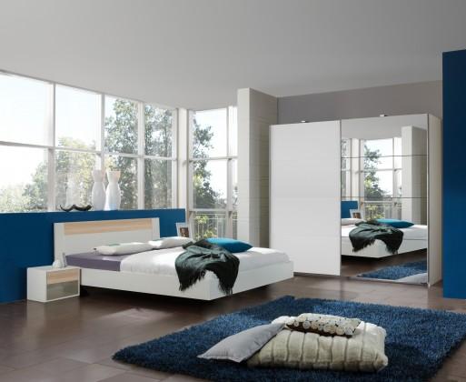 Spálňový program Ilona - Komplet 7, posteľ 160 cm (alpská biela, buk)