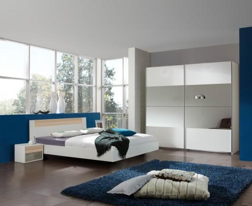Spálňový program Ilona - Komplet 9, posteľ 180 cm (alpská biela, buk)