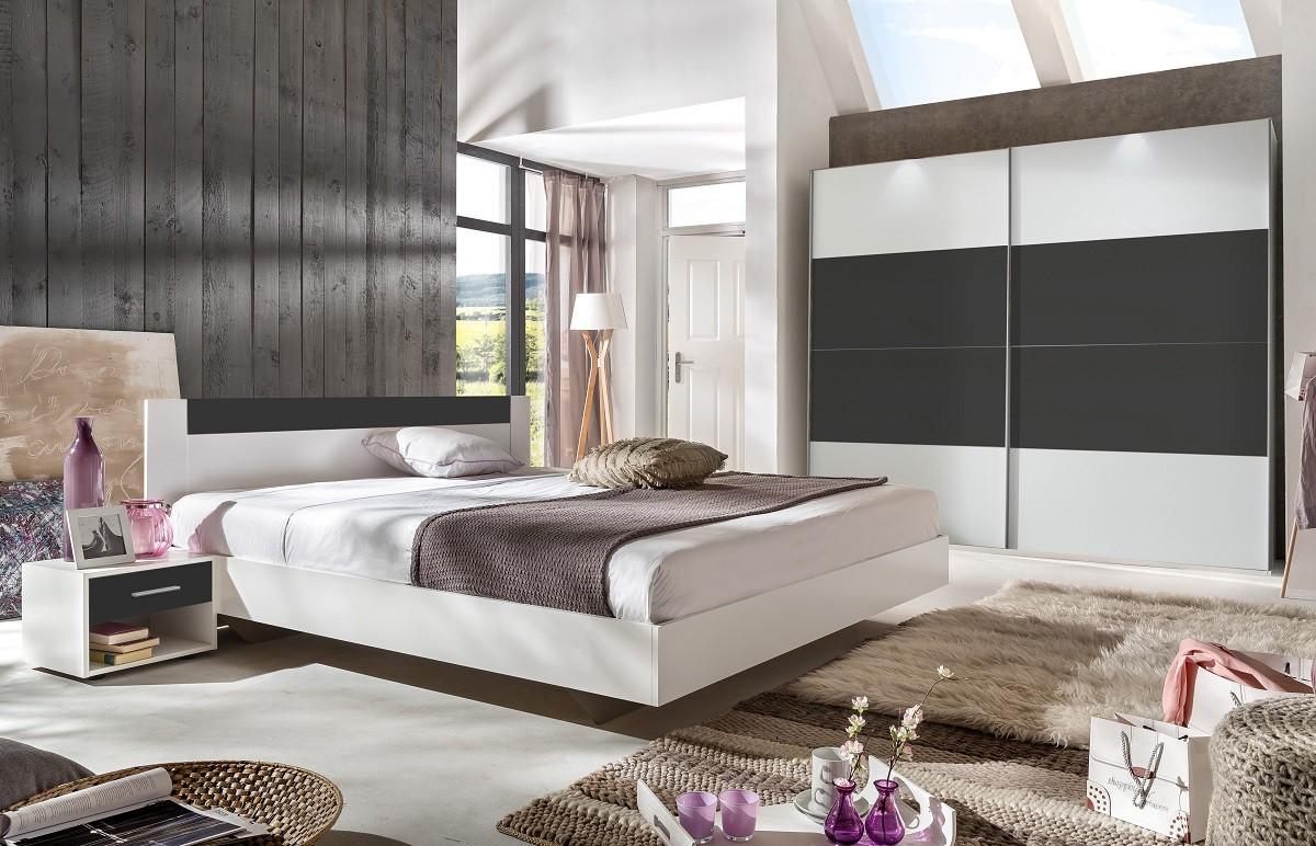 Spálňový program Ilona - Komplet, posteľ 160 cm (alpská biela, antracit)