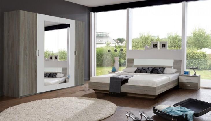 Spálňový program Jenny - komplet, posteľ 180cm (dub trufel, biela)