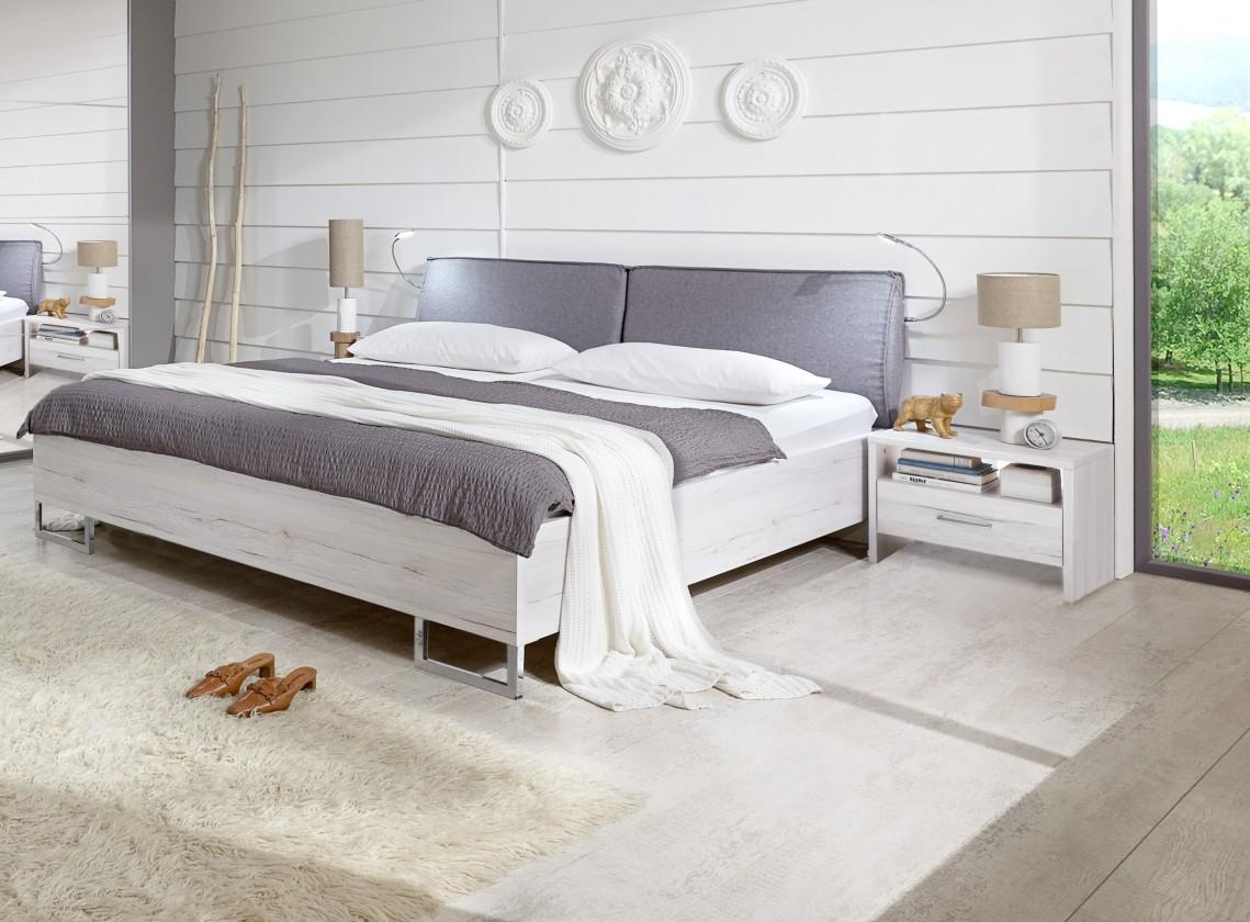 Spálňový program Kampen - komplet, posteľ 160cm (biely dub)