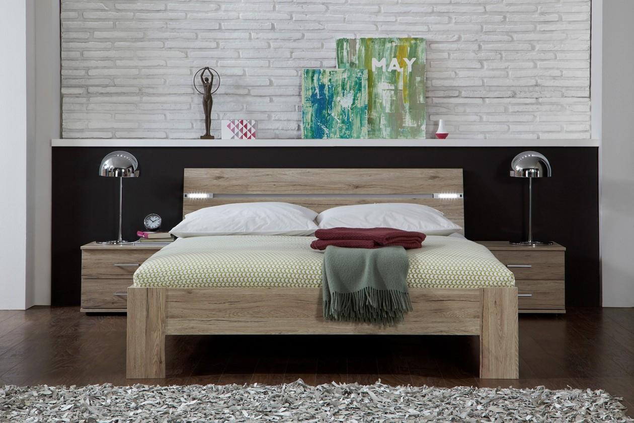 Spálňový program Madrid - Komplet, posteľ 160 cm (dub san remo)