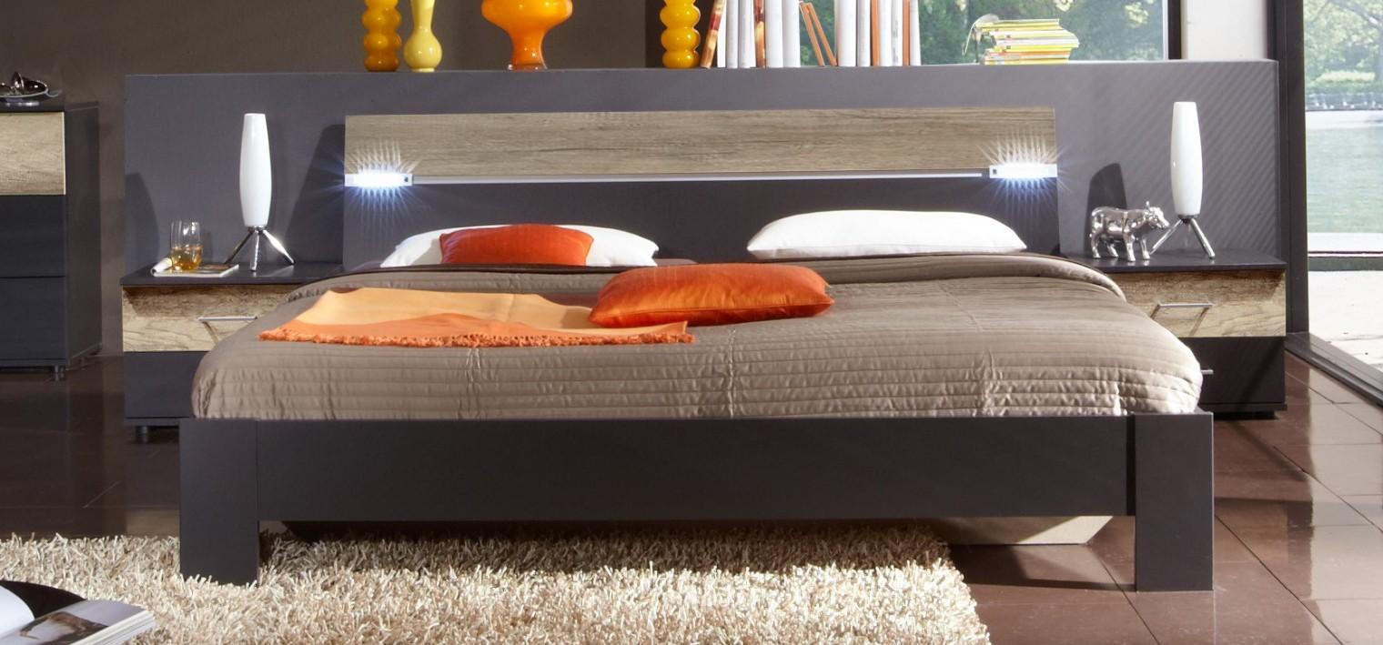 Spálňový program Madrid - Komplet, posteľ 160 cm (lava čierna/divoký dub)
