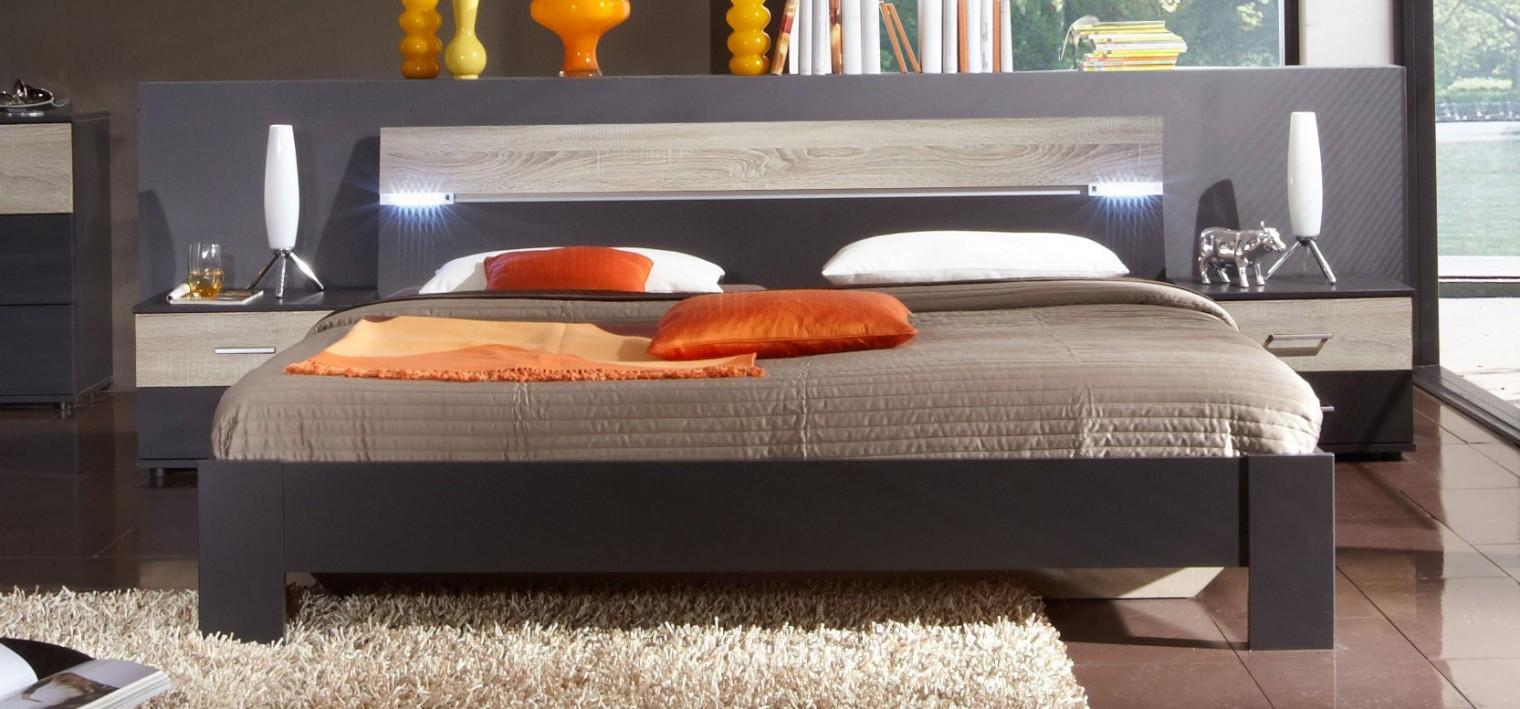 Spálňový program Madrid - Komplet, posteľ 160 cm (lava čierna/dub)