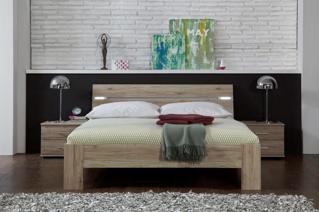 Spálňový program Madrid - Komplet, posteľ 180 cm (dub san remo)