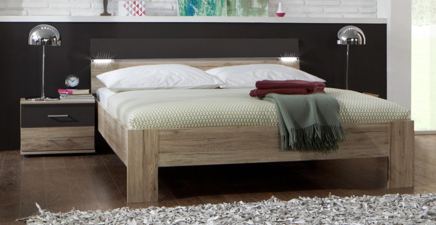 Spálňový program Madrid - Komplet, posteľ 180 cm (dub san remo/lava čierna)