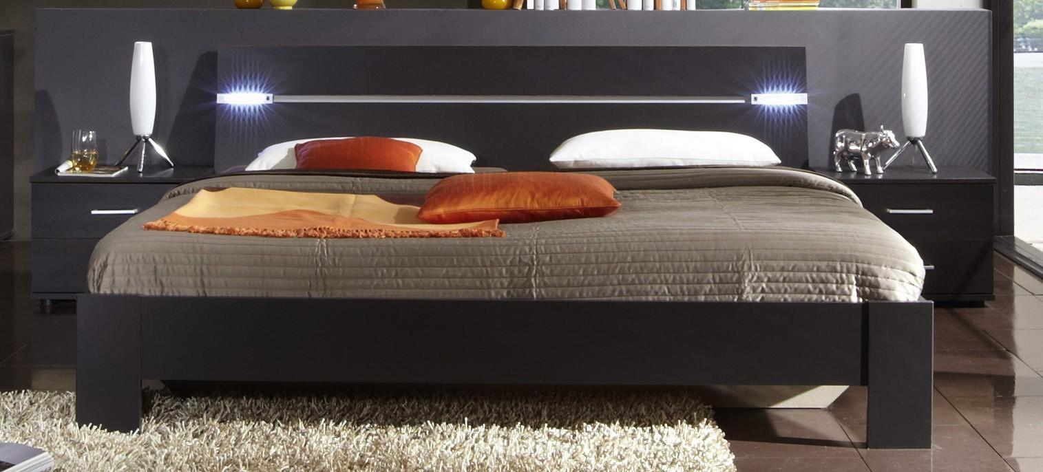 Spálňový program Madrid - Komplet, posteľ 180 cm (lava čierna)