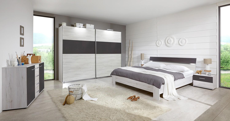 Spálňový program Madrid - Komplet veľký 2, posteľ 180 cm (dub biely/lava čierna)