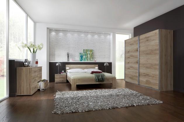 Spálňový program Madrid - Komplet veľký 2, posteľ 180 cm (dub san remo)